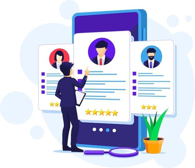 Reclutamento online, uomo d'affari che sceglie il miglior candidato per un nuovo dipendente, illustrazione del concetto di risorse umane e assunzioni