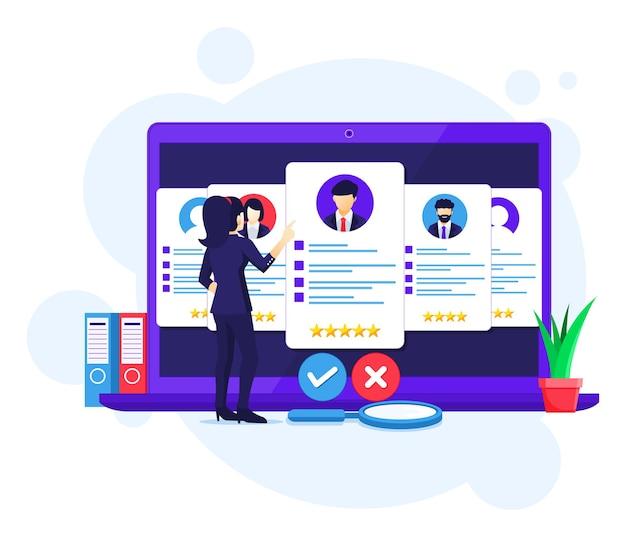 Concetto di reclutamento online, ricerca di imprenditrice e scelta di un candidato per il nuovo dipendente, illustrazione di assunzione
