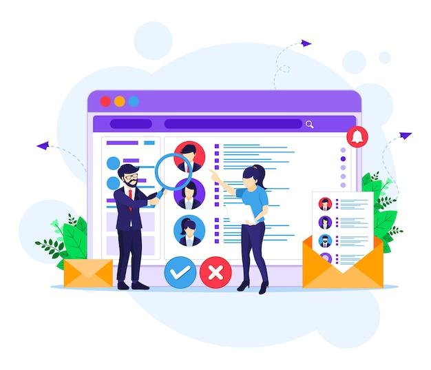 Concetto di reclutamento online, persone alla ricerca di candidati per un nuovo dipendente e illustrazione del concetto di assunzione