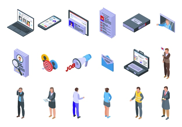 Set di icone di reclutamento online. set isometrico di icone di reclutamento online per il web
