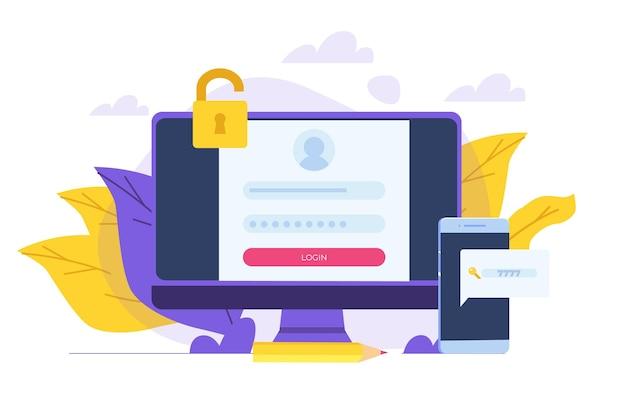 Registrazione e iscrizione online, concetto di autenticazione dell'account. illustrazione dell'interfaccia utente di vettore.