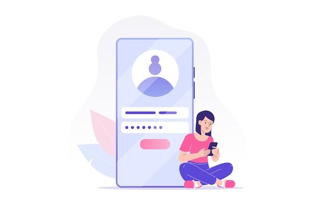 Registrazione in linea e concetto di iscrizione con carattere di donna