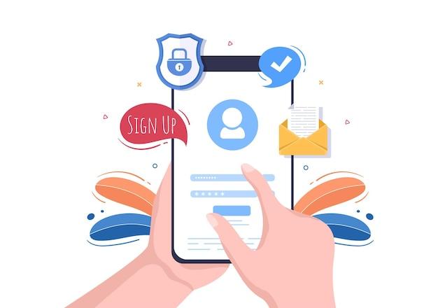 Registrazione online o registrazione accedi per l'account sull'app per smartphone. interfaccia utente con secure password mobile application, per ui, web banner, access. cartoon persone illustrazione vettoriale