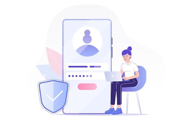Registrazione online e iscriviti con la donna seduta vicino allo smartphone