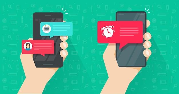 Promemoria online importante avviso di sveglia sul telefono cellulare e chat con messaggi chatbot
