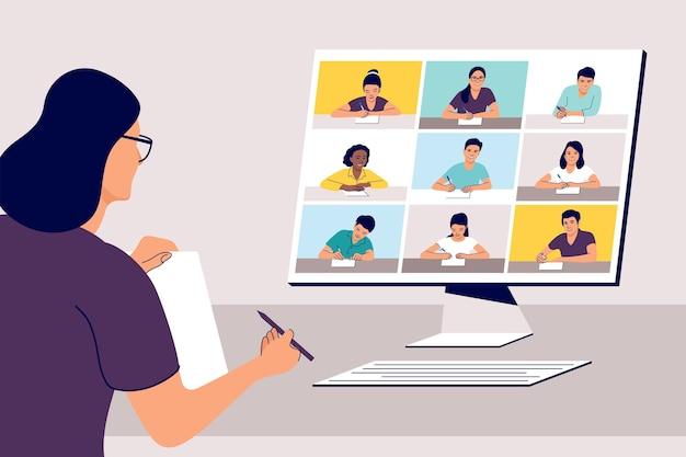Apprendimento remoto online. insegnante con computer.
