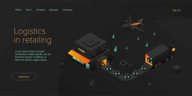 Trasporto di negozi al dettaglio online in design isometrico servizio di consegna del negozio e logistica del camion