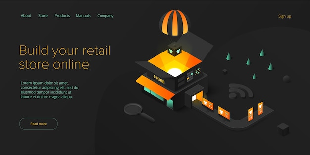 Trasporto di negozi al dettaglio online in disegno vettoriale isometrico servizio di consegna del negozio
