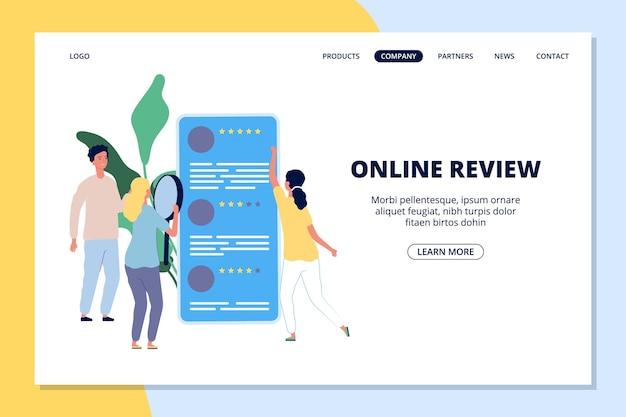 Pagina di destinazione della recensione online. persone che danno feedback, app per smartphone di social network per banner web dei clienti.