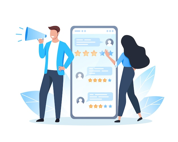 Revisione online, persone che danno feedback utilizzando l'app mobile, recensioni di persone sullo schermo dello smartphone