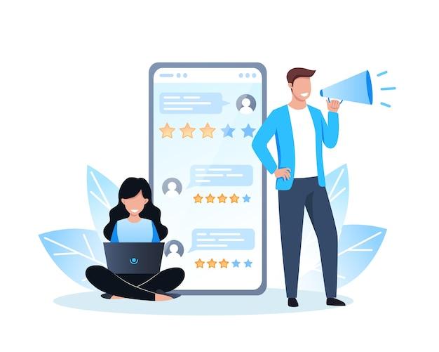 Revisione online, persone che danno un feedback utilizzando l'app mobile, una donna è seduta con un laptop, un uomo è in piedi con un megafono