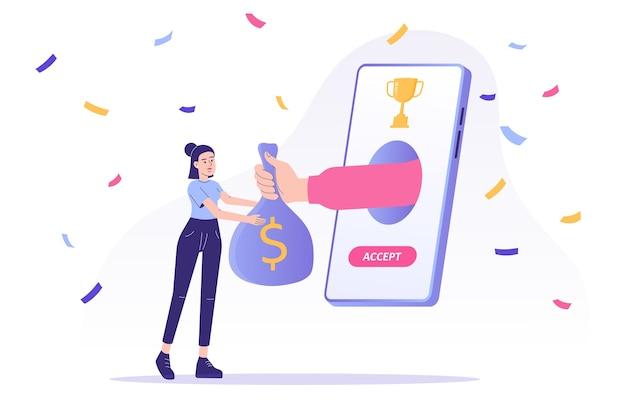 Il programma di ricompensa online con la donna riceve un sacchetto di monete dalla mano che schiocca dallo schermo dello smartphone