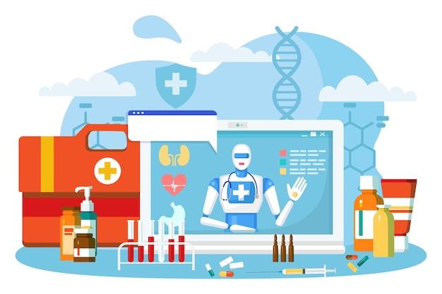 Medico robot online, illustrazione vettoriale. assistenza medica da parte del servizio ospedaliero, la tecnologia della mente artificiale aiuta il paziente in internet. prescrizione della medicina piatta da smartphone, schermo del computer.