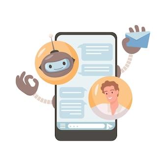 In linea di assistenza robotica illustrazione vettoriale piatto giovane uomo in chat con