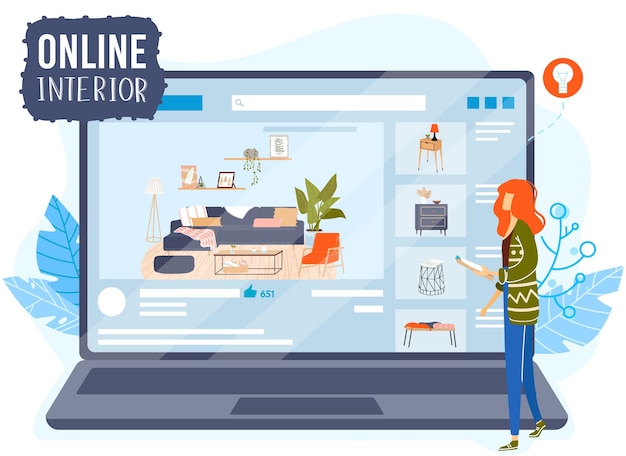 Illustrazione di vettore di concetto di design piatto di app interni camera online. cartoon architetto designer personaggio pianificazione mobili per la casa, decorazione d'interni