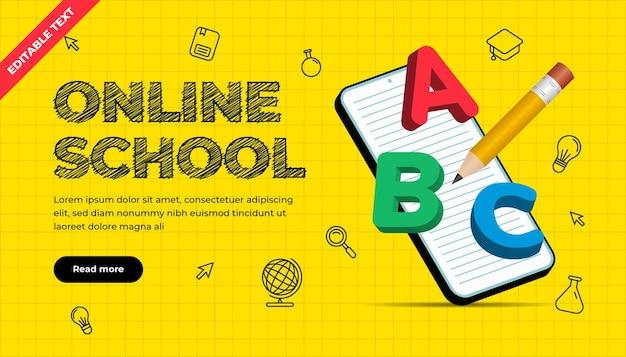Banner di scuola online con illustrazione 3d. tutorial e corsi su internet digitale, formazione online. modello di banner per lo sviluppo di siti web e app mobili. effetto di testo modificabile.