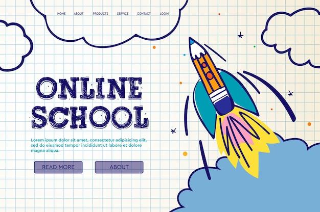 Scuola online esercitazioni e corsi digitali su internet educazione online elearning modello di banner web per pagina di destinazione del sito web e sviluppo di app mobili illustrazione vettoriale in stile doodle