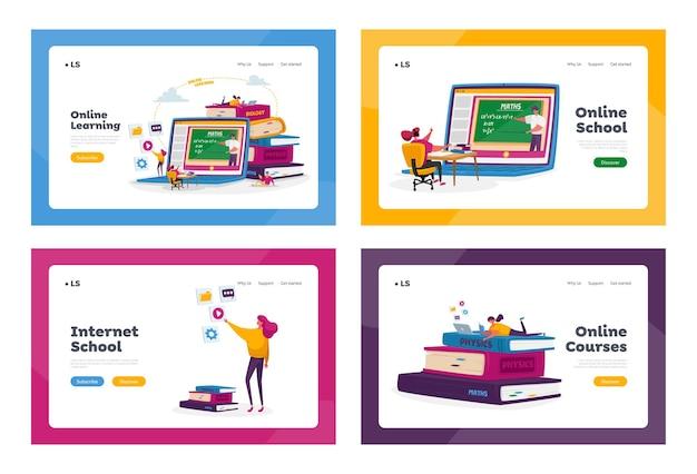 Set di modelli di pagina di destinazione di istruzione scolastica online a casa
