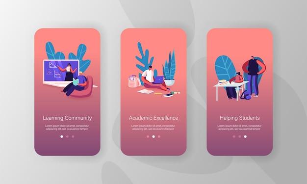 Modello di schermata della pagina dell'app mobile di istruzione scolastica online.