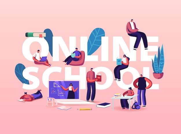 Illustrazione della scuola online. personaggi che imparano a distanza durante la quarantena del covid19.