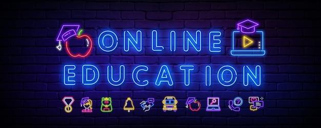 Insegna al neon della scuola online. icone al neon sul tema della scuola.