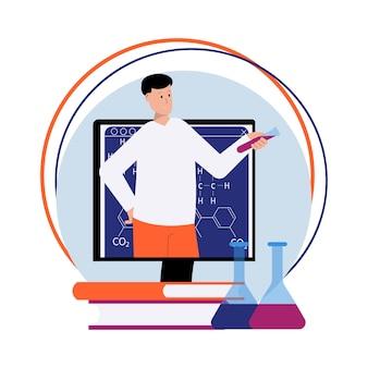 Composizione piatta per lezioni di scienze online con libri e boccette per insegnanti maschi di computer