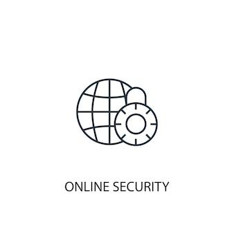 Icona della linea del concetto di sicurezza online. illustrazione semplice dell'elemento. disegno di simbolo di contorno del concetto di sicurezza online. può essere utilizzato per ui/ux mobile e web