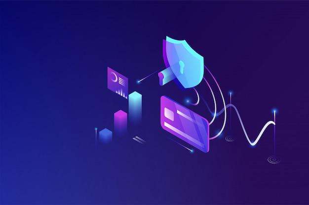 Tecnologia di sicurezza online, protezione dei dati personali e operazioni bancarie sicure