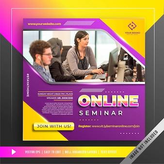 Banner di seminario online resta a casa modello di promozione