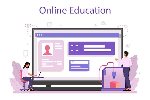 Servizio o piattaforma online. disegno digitale con apparecchiature elettroniche. ingegneria della stampante 3d. formazione in linea. illustrazione vettoriale isolato