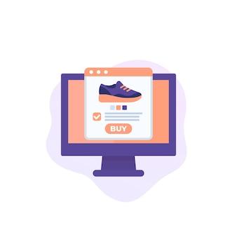 Negozio di scarpe online, e-commerce, icona vettoriale dello shopping