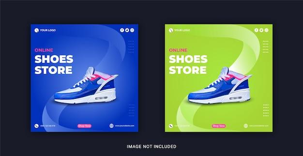 Negozio di scarpe online modello di post banner per social media instagram