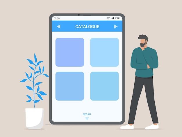 Catalogo del negozio online, tecnologia, shopping, concetto di vendita.