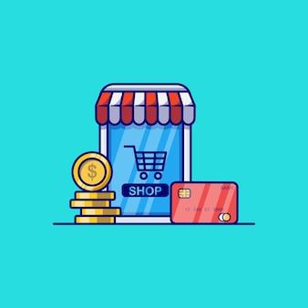 Progettazione dell'illustrazione di vettore di concetto del negozio online