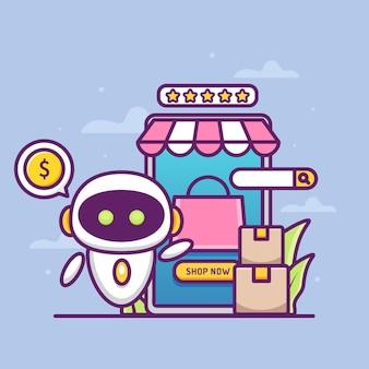 Concetto di negozio online con robot assistente
