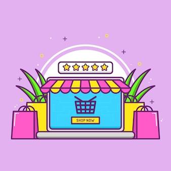 Concetto di negozio online con borsa della spesa