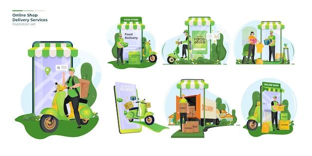 Set di raccolta di illustrazioni per la consegna del negozio online