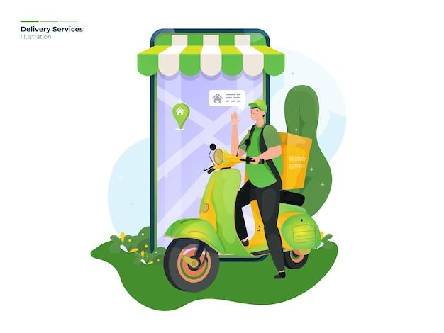 Illustrazione di servizi di consegna negozio online