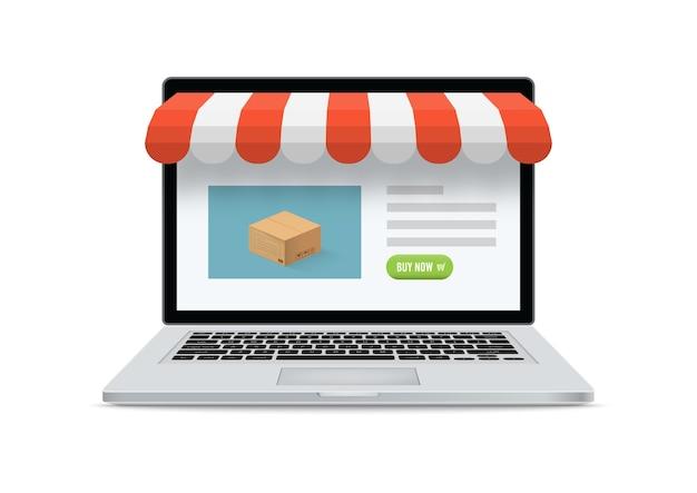 Negozio online di e-commerce. computer portatile con schermo e acquisto. acquisti online di concetto.