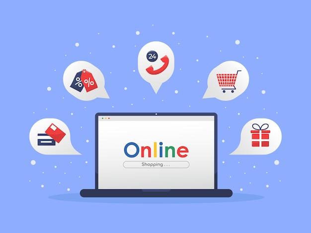 Concetto dell'illustrazione del negozio online