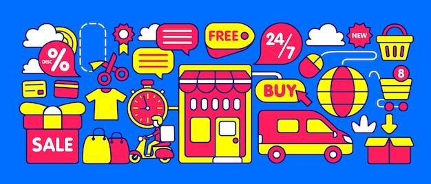Illustrazione del negozio online