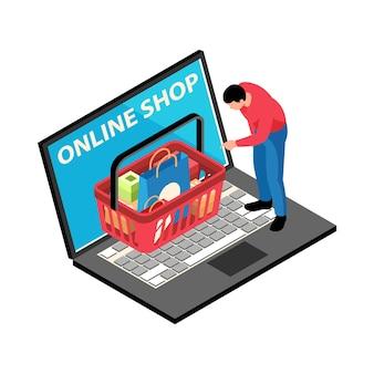 Illustrazione isometrica del negozio online con laptop di carattere umano e cesto pieno di prodotti 3d