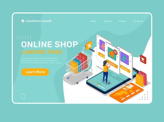 Illustrazione della pagina di destinazione del negozio online con la donna e l'elenco dei prodotti.