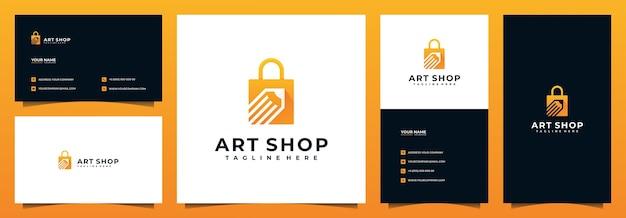 Design del logo del negozio online e biglietto da visita, con il concetto di matita e borsa
