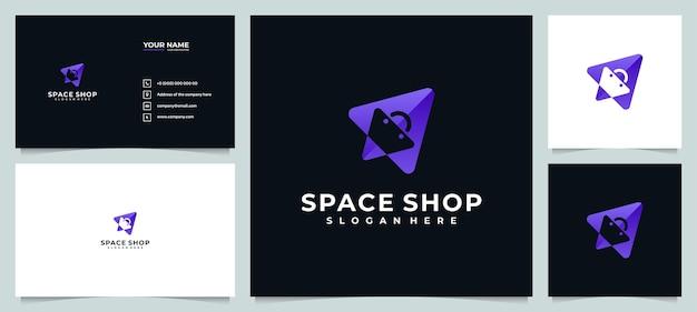 Ispirazione per il design del logo del negozio online con biglietto da visita Vettore Premium