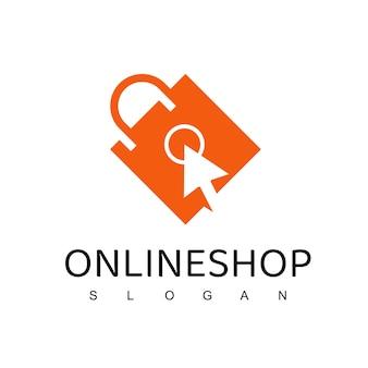 Modello di progettazione del logo del negozio online. disegno vettoriale di borsa della spesa. simbolo del mercato digitale
