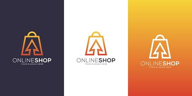 Design del logo del negozio online con freccia