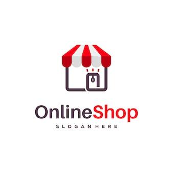 Il logo del negozio online progetta il vettore del concetto, i disegni del logo del negozio online