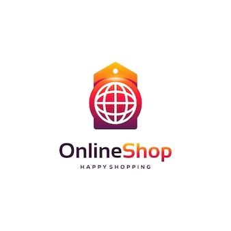 Logo del negozio online progetta il modello di logo di acquisto, sito web e cartellino del prezzo