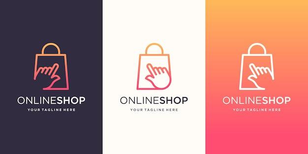 Modello di disegni di logo del negozio online. cursore abbinato a borsa.